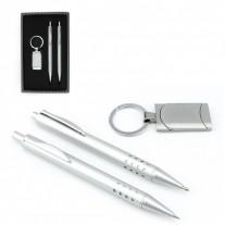 Kit caneta lapiseira e chaveiro metálico - KIM03
