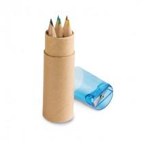 Caixa de cartão com 6 mini lápis de cor - LAP36